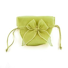 Organza Drawstring Favor Bags with Bow - Lime Juice