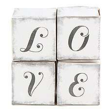 """LOVE"" Cube Favor Boxes with Charming Aged Print (10)"