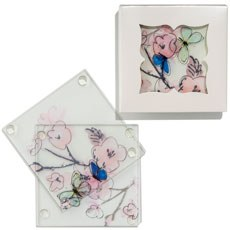 Hand Drawn Floral Glass Coaster Set