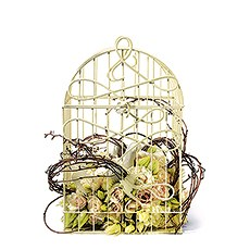 Modern Decorative Birdcage with Birds in Flight - Ivory