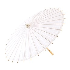 Pretty Paper Parasol with Bamboo Handle - White
