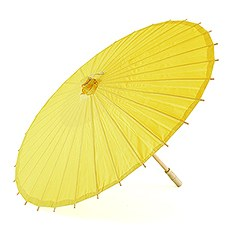 Paper Parasol with Bamboo Boning - Lemon Yellow