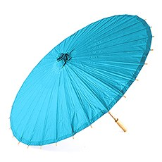 Pretty Paper Parasol with Bamboo Handle - Caribbean Blue