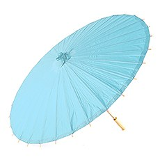 Pretty Paper Parasol with Bamboo Handle - Aqua Blue