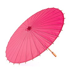 Pretty Paper Parasol with Bamboo Handle - Fuchsia