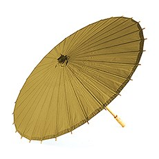 Pretty Paper Parasol with Bamboo Handle - Vintage Gold
