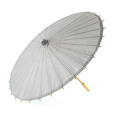 Pretty Paper Parasol with Bamboo Handle - Silver