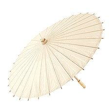 Pretty Paper Parasol with Bamboo Handle - Ivory