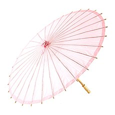 Pretty Paper Parasol with Bamboo Handle - Vintage Pink