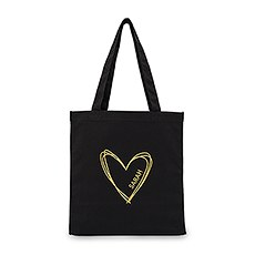 Women's Personalized Large Black Cotton Canvas Fabric Tote Bag- Heart