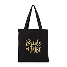 Large Black Cotton Canvas Wedding Tote Bag for Bridesmaid- Bride Tribe