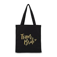 Large Black Cotton Canvas Wedding Tote Bag for Bridesmaid-Team Bride