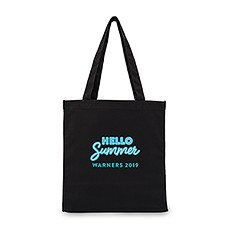 """Hello Summer"" Black Canvas Tote Bag"