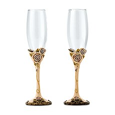 Vintage Rose Wedding Champagne Flutes