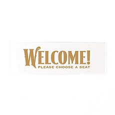 """Black and Gold Opulence Engraved """"Welcome"""" Acrylic Sign - Small"""