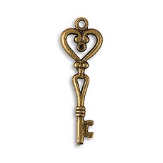 Antique Key Charm Style 2 - Heart Shape (12)