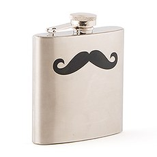 Personalized Black Mustache Stainless Steel Hip Flask - Monogram Engraving