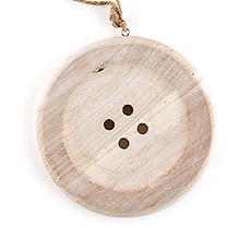 Charming Wooden Button Decoration with Natural Finish - Medium