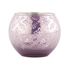 Large Glass Globe Votive Holder With Reflective Lace Pattern (4) - Lavender