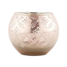 Large Glass Globe Votive Holder With Reflective Lace Pattern (4) - Peach (4)