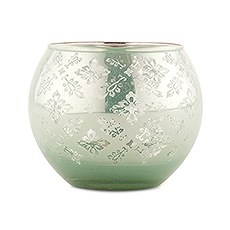 Large Glass Globe Votive Holder With Reflective Lace Pattern (4) - Daiquiri Green