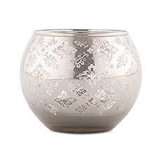 Large Glass Globe Votive Holder With Reflective Lace Pattern (4) - Silver (4)