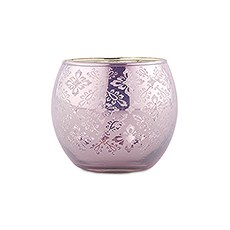 Small Glass Globe Votive Holder With Reflective Lace Pattern (6) - Lavender (6)