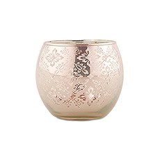 Small Glass Globe Votive Holder With Reflective Lace Pattern (6) - Peach (6)