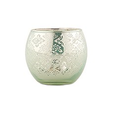 Small Glass Globe Votive Holder With Reflective Lace Pattern (6) - Daiquiri Green
