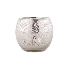 Small Glass Globe Votive Holder With Reflective Lace Pattern (6) - Silver
