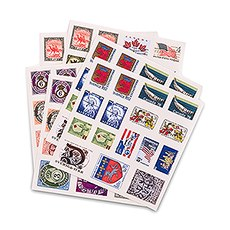 """Countries Around the Globe"" Postage Stamp Sticker Assortment"