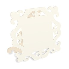 Laser Expressions Square Baroque Frame Folded Place Card - Ivory (12)