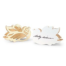 Laser Expressions Love Bird Damask Folded Place Card - Ivory