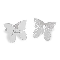 Laser Expressions Butterfly Folded Place Card - White