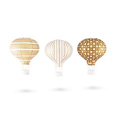 Hot Air Balloon Paper Lantern Set in Gold and White (3)