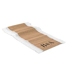 Burlap And Lace Table Runner With Equestrian Monogram