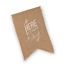 Natural Burlap Ceremony Sign - White Print Here Comes the Bride