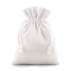 White Linen Drawstring Favor Bag