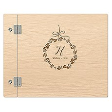 Wooden Wedding Guest Book - Botanical Wreath Etching