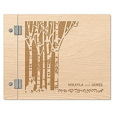 Personalized Wooden Wedding Guest Book - Rustic Woodland
