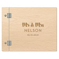 Personalized Polaroid Wooden Wedding Guest Book - Mr + Mrs Retro