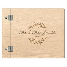Personalized Wooden Polaroid Wedding Guest Book - Signature Script