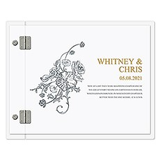 Personalized Clear Acrylic Wedding Guest Book - Antique Chic