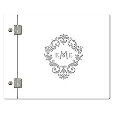 Personalized White Acrylic Wedding Guest Book - Classic Filigree