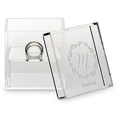 Small Personalized Clear Acrylic Ring Box- Botanical Wreath Engraving