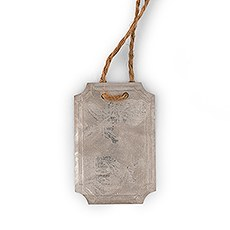 8 Rectangular Tin Tags with Jute Hangers