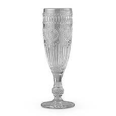 Vintage Style Pressed Glass Flute in Grey