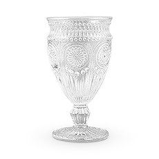 Vintage Style Pressed Glass Wine Goblet - Clear