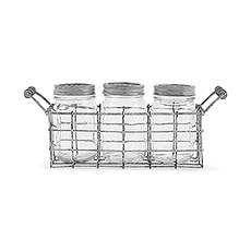 Vintage Inspired Mason Jar Set in Wire Holder