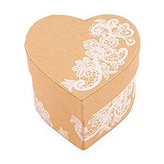 6 Heart Kraft Paper Favor Box with Vintage Lace Print